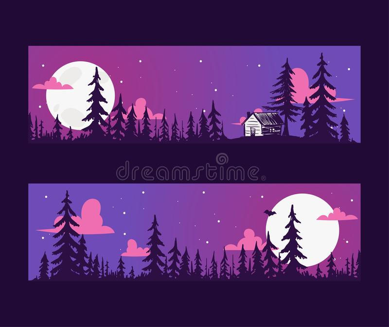 Forest pine tree banner with night scene vector evergreen natural silhouette company. Forest treetop nature wood royalty free illustration