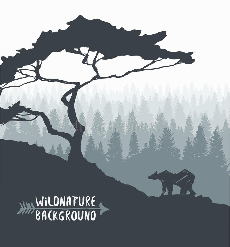 Forest pine tree bear silhouette drawn vector royalty free illustration