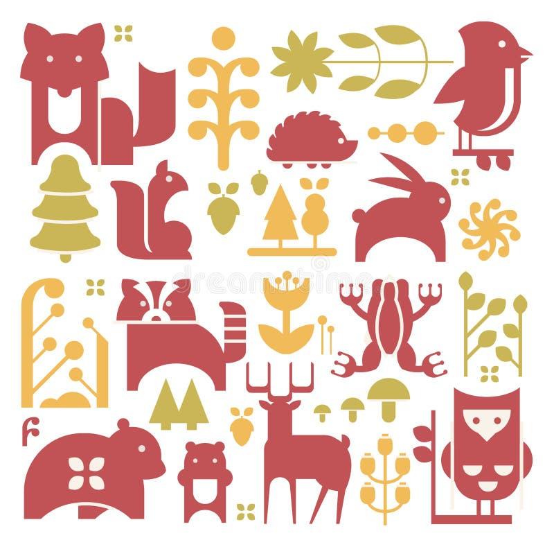 Forest Plants And Animals Set libre illustration