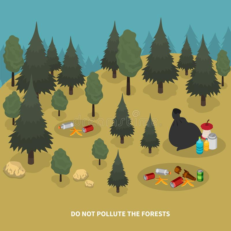 Forest Pollution Isometric Composition stock abbildung