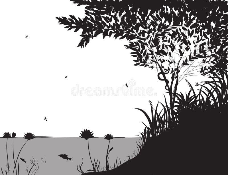 Forest Pond vektor illustrationer
