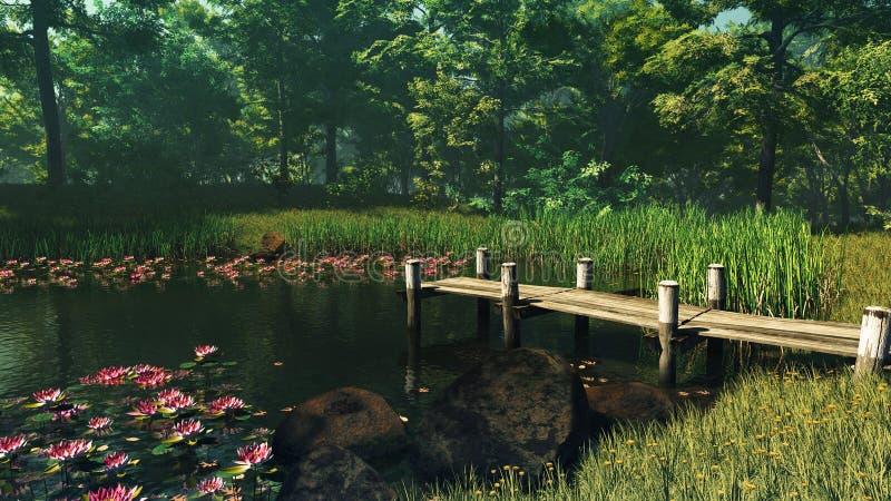 Forest Pond, 3d CG stock abbildung