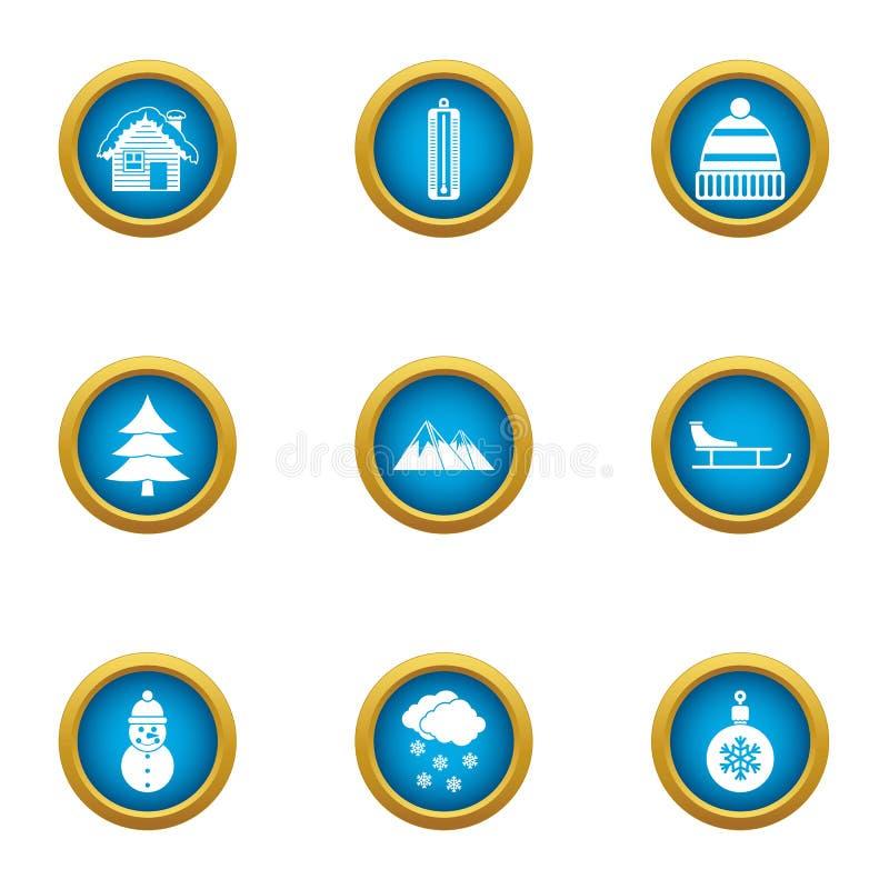 Forest ranger icons set, flat style stock illustration