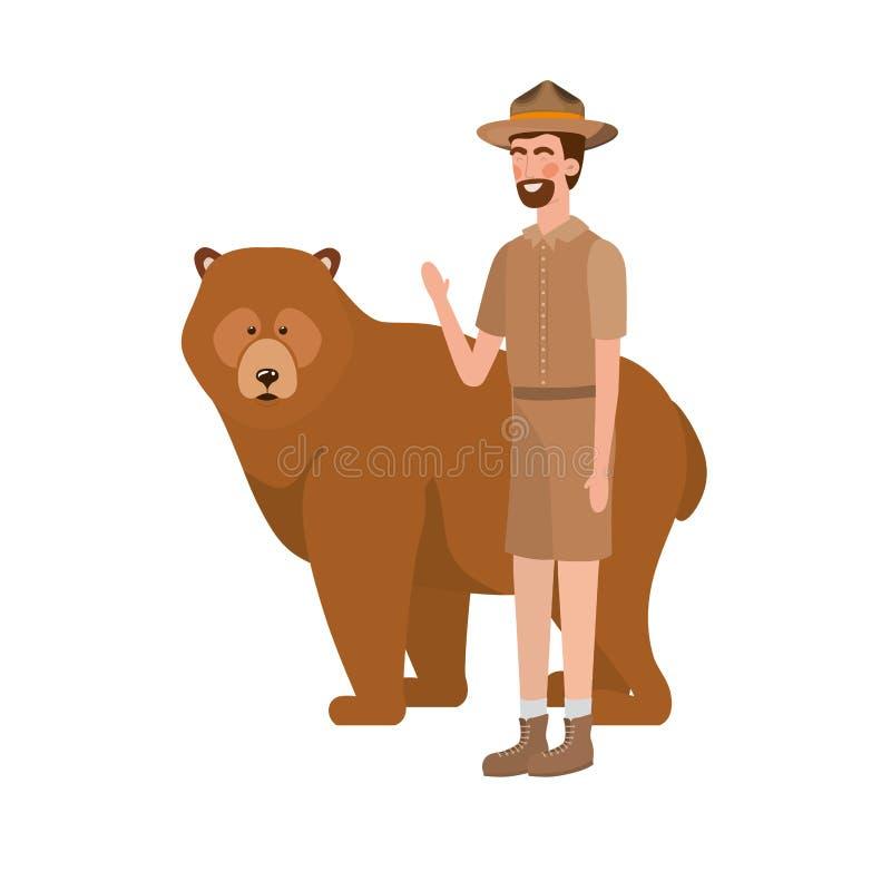 Forest ranger man cartoon and bear design royalty free illustration