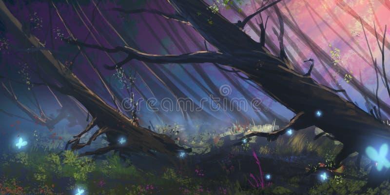 Forest Realistic Style escuro ilustração do vetor