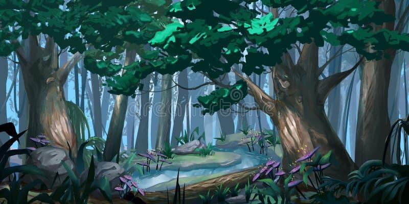 Forest Realistic Style Materiale illustrativo di Digital CG del video gioco illustrazione di stock