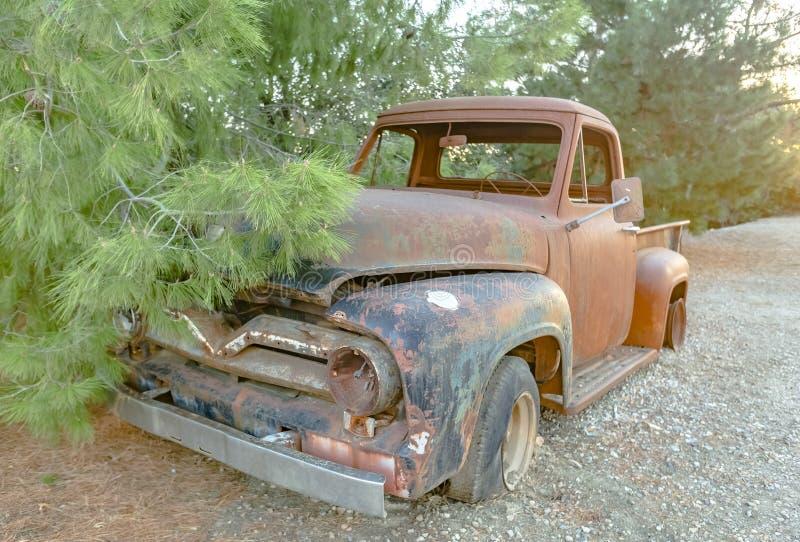 Forest Relic Old Car que oxida afastado na opinião dianteira da floresta fotografia de stock royalty free
