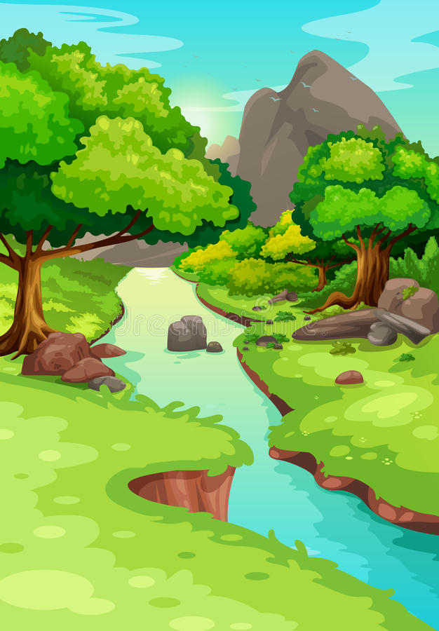 Forest with a river background vector illustration