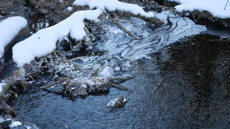 Forest river flowing water late nature winter a melted ice landscape, arrival of spring. Forest river flowing water late nature winter melted ice landscape royalty free stock images