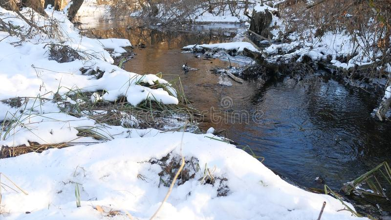 Forest river flowing water late nature winter melted ice landscape, arrival of spring. Forest river flowing water late nature winter melted ice landscape royalty free stock photo