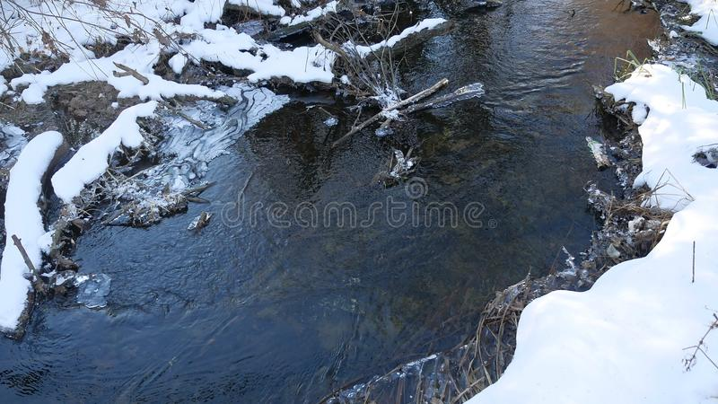 Forest river flowing water late winter nature a melted ice landscape, arrival of spring. Forest river flowing water late winter nature melted ice landscape royalty free stock image