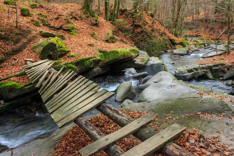 Forest river with old bridge stock image