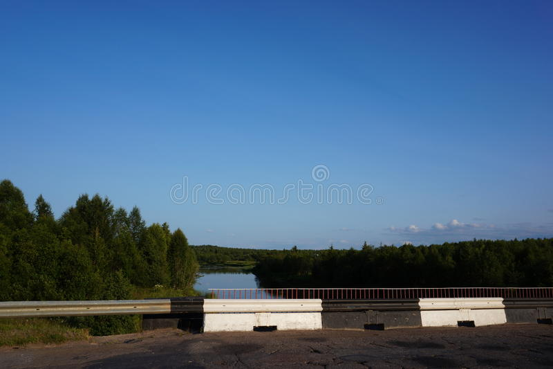Forest. river and sky in North of Russia stock photos