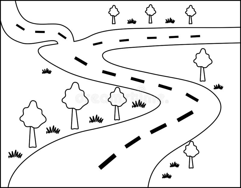 Forest Road Illustration Outline vector illustration