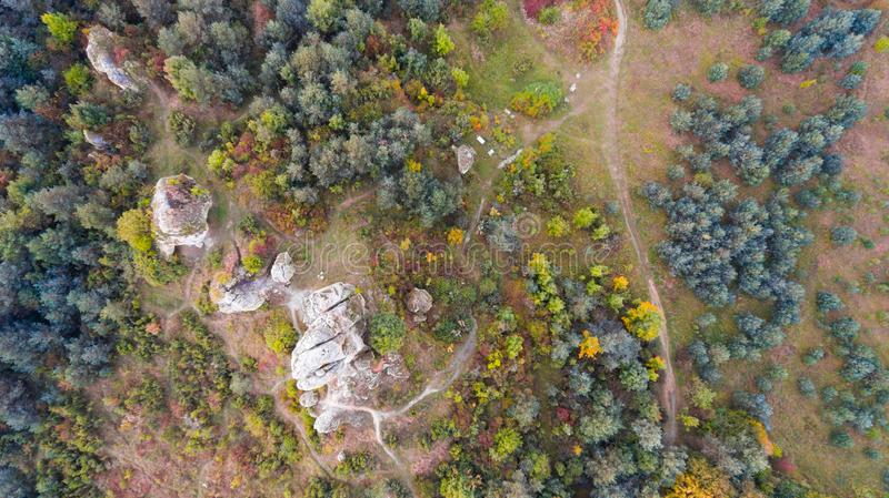 Forest and rocks in autumn aerial drone view royalty free stock image