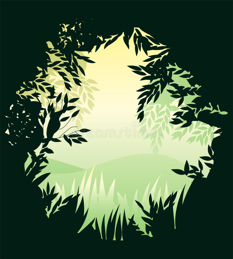 In the forest round banner in vector