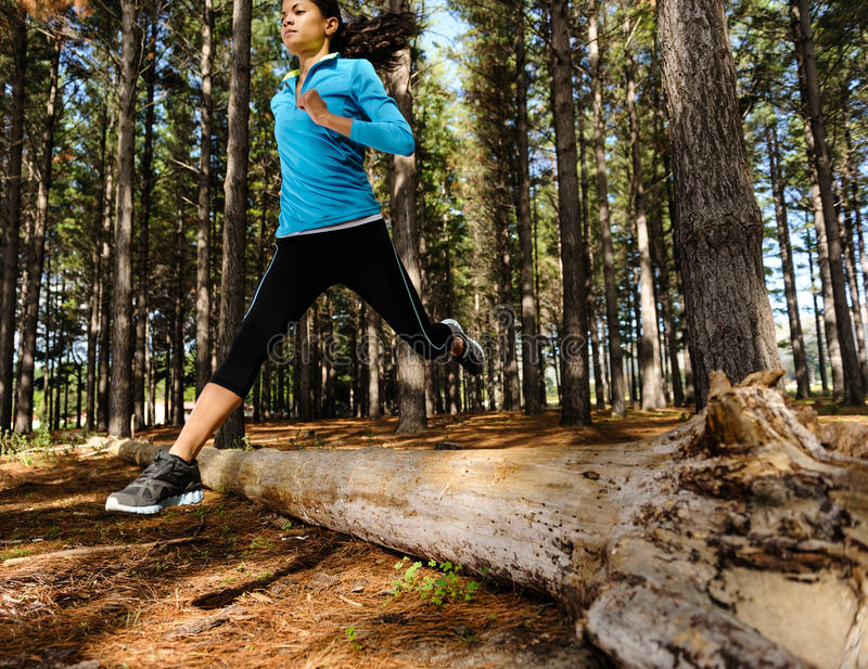 Forest running woman stock image