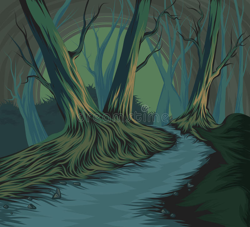 Forest scene hand drawing royalty free illustration