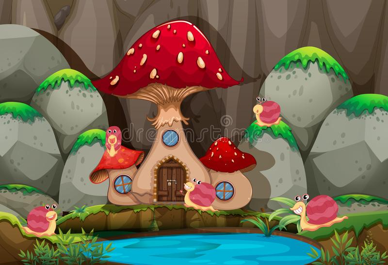 Forest scene with mushroom house by the pond vector illustration