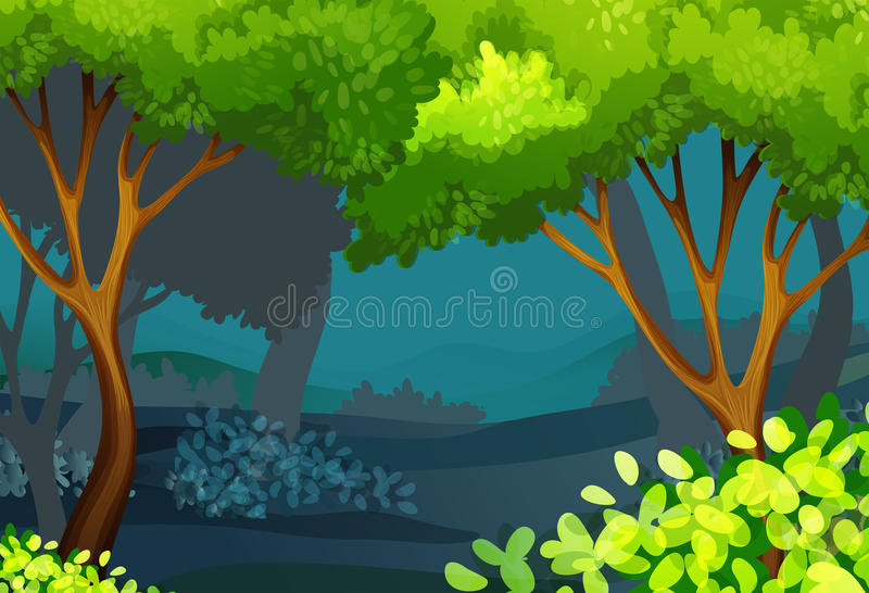 Forest scene with trees and bush royalty free illustration