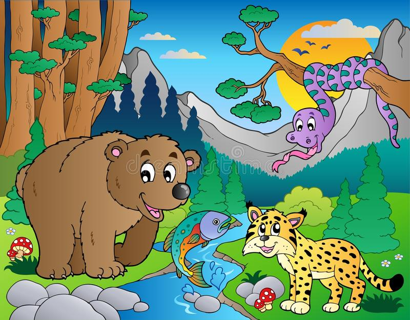 Forest scene with various animals 9 stock illustration