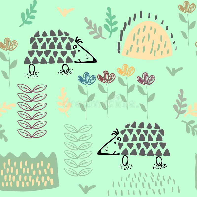 Forest seamless pattern background with plants and hedgehog. vector illustration