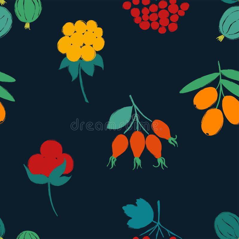 Forest Seamless Pattern With Berries ilustração stock