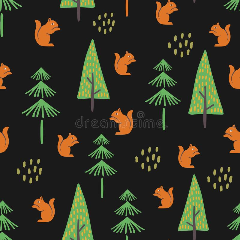 Forest seamless pattern with childish drawing royalty free illustration