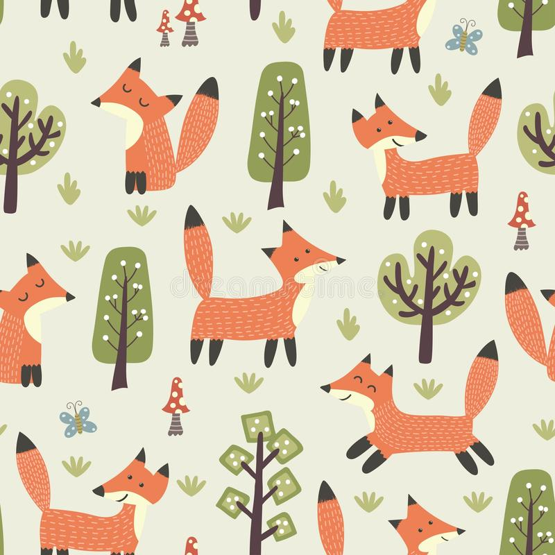 Forest seamless pattern with cute little foxes and trees vector illustration