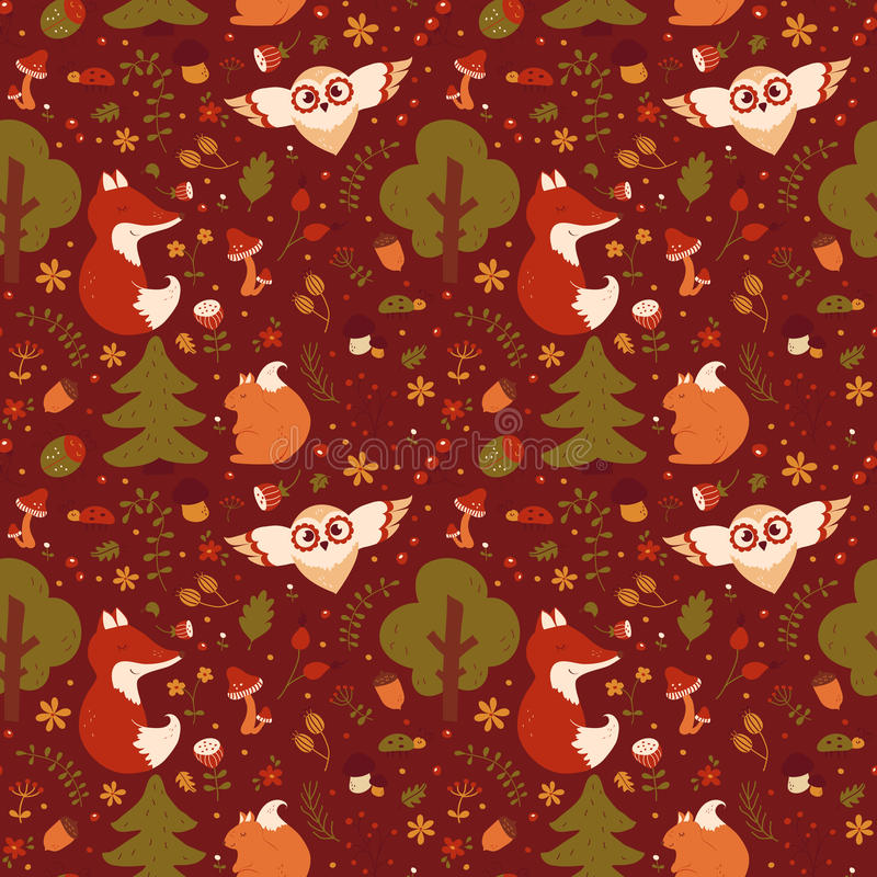 Forest seamless pattern. Vector background. Forest seamless pattern with hand drawn animals, flowers and plants. Cute nature textile in red, green, orange and stock illustration