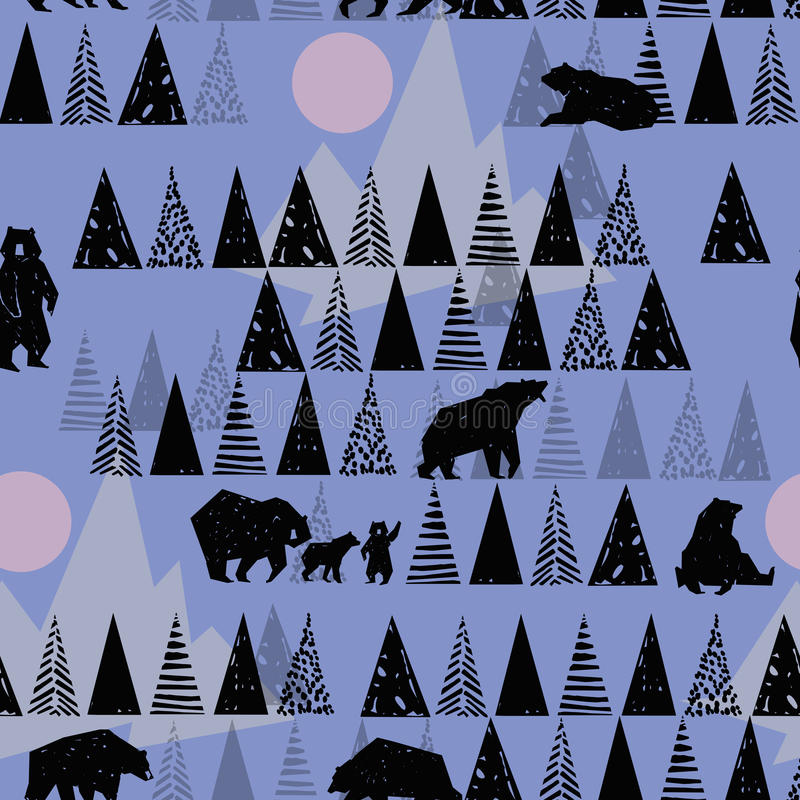 Forest seamless pattern. Wildlife pattern. Grizzly Bear. Abstract forest pattern. stock illustration