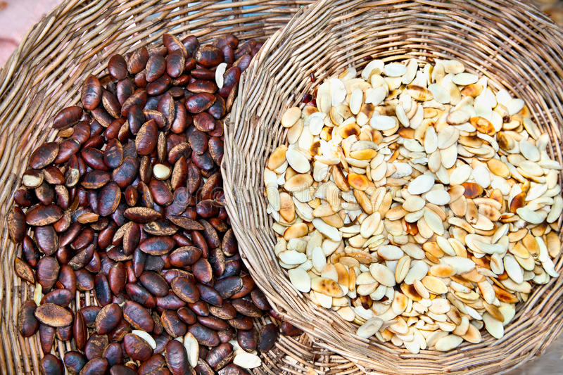 Forest seeds at the asian market, Cambodia. Forest seeds at the asian market in Cambodia royalty free stock photo