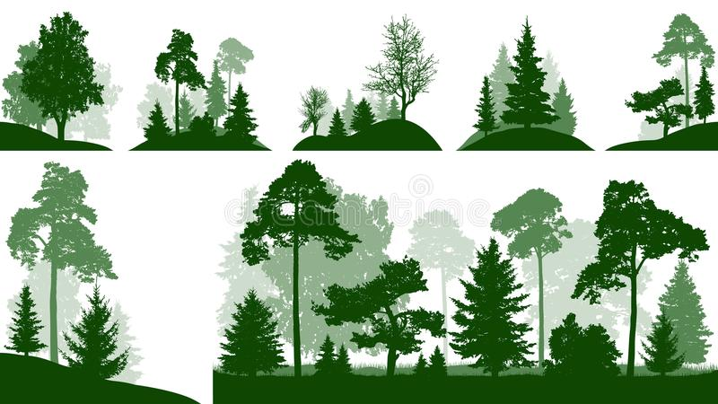 Forest set, trees in the park, silhouette isolated vector. Forest set, trees in the park, silhouette isolated vector vector illustration