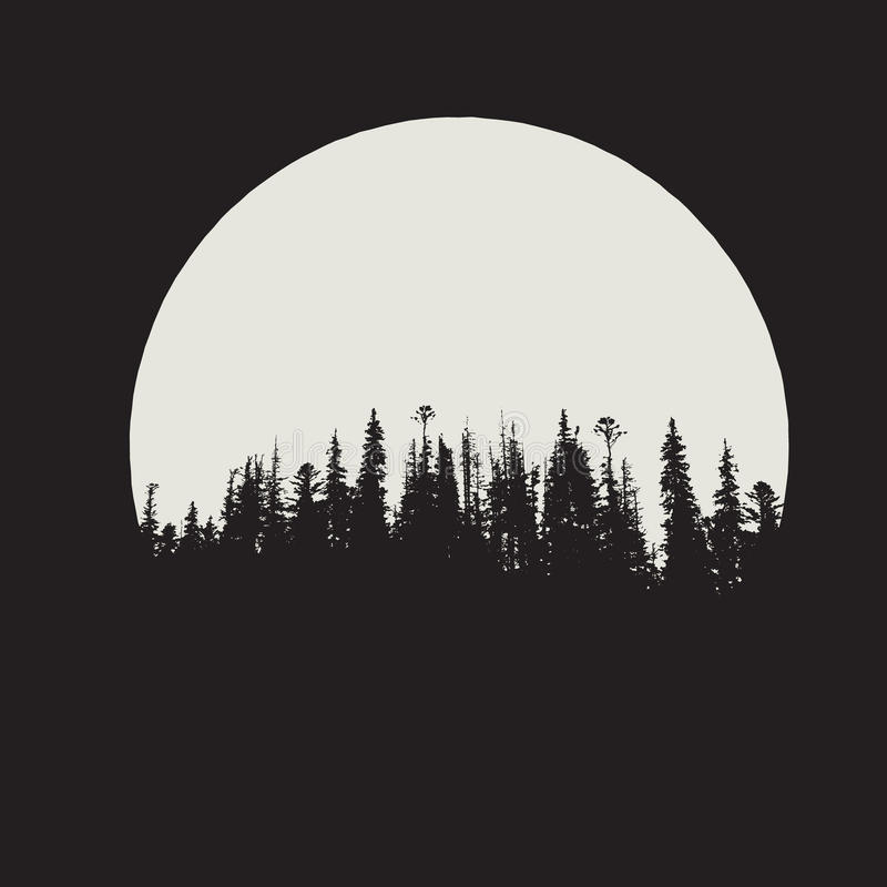 Forest silhouette on moon background royalty free illustration