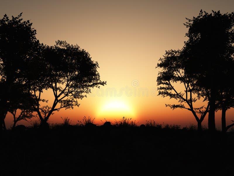 Forest Silhouette Sunset ilustração royalty free