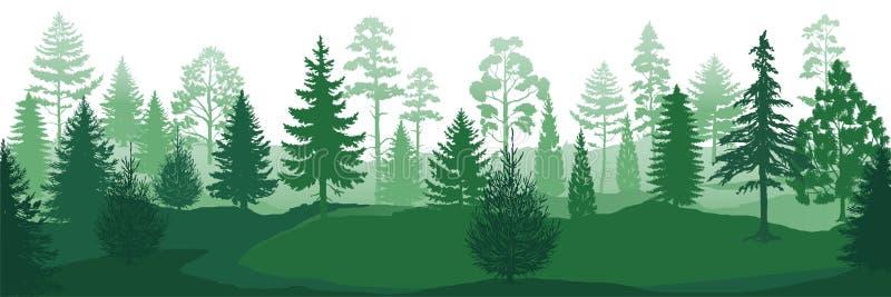 Forest Silhouettes Los fondos de madera de la naturaleza salvaje, los abetos verdes de los árboles de pino y las piceas ajardinan stock de ilustración