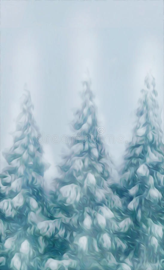 Forest snow covered trees on a winter snow background stationery christmas card type copy ready. Evergreen pine trees covered in forest snow winter scene oil stock illustration