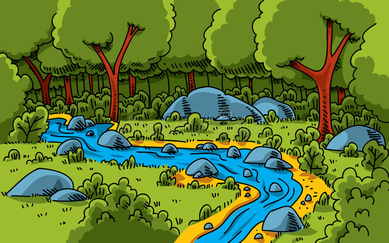 Forest Stream. A cartoon stream running through a lush, green forest vector illustration