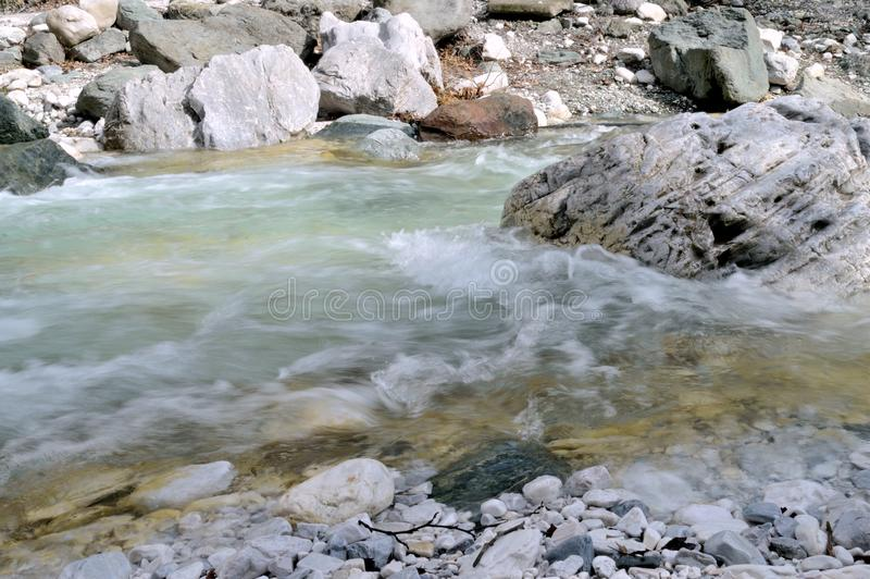 Forest Stream Over White Rocks stock photography