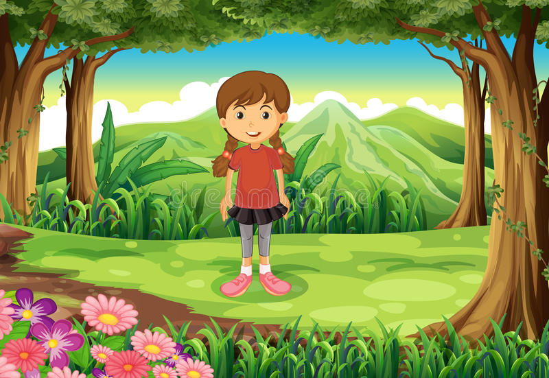 A forest with a tall young girl stock illustration