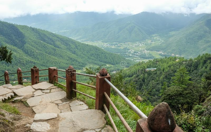 Forest trail to Taktshang Goemba. Or Tiger Nest Monastery in Paro, Bhutan royalty free stock image