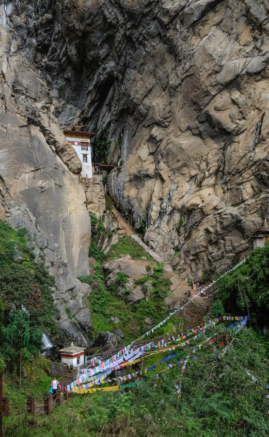Forest trail to Taktshang Goemba. Or Tiger Nest Monastery in Paro, Bhutan stock image