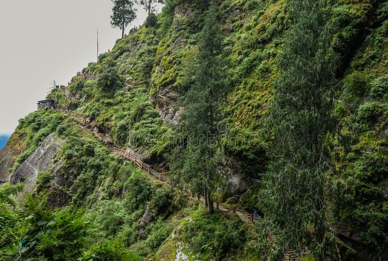 Forest trail to Taktshang Goemba. Or Tiger Nest Monastery in Paro, Bhutan stock images