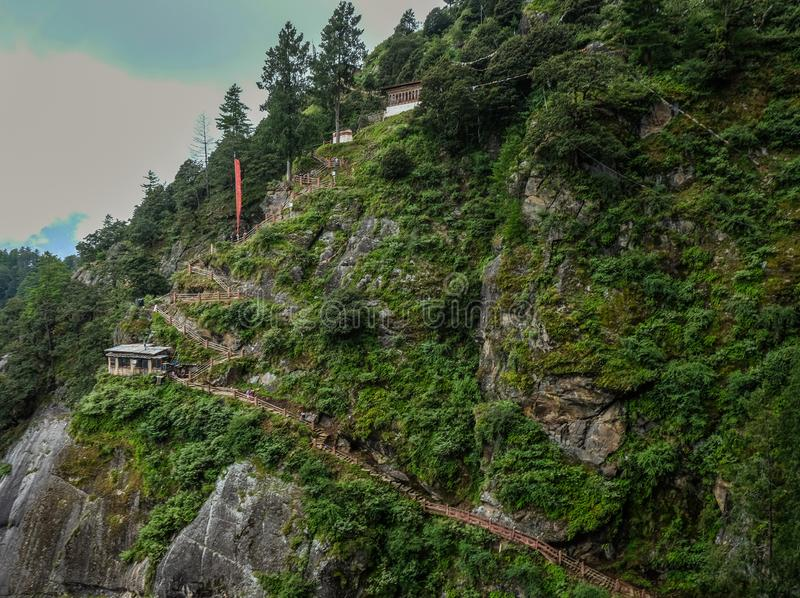 Forest trail to Taktshang Goemba. Or Tiger Nest Monastery in Paro, Bhutan royalty free stock images