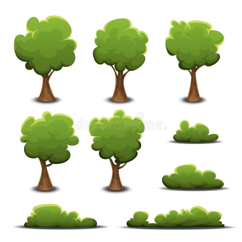 Forest Trees, Bush och häckuppsättning stock illustrationer