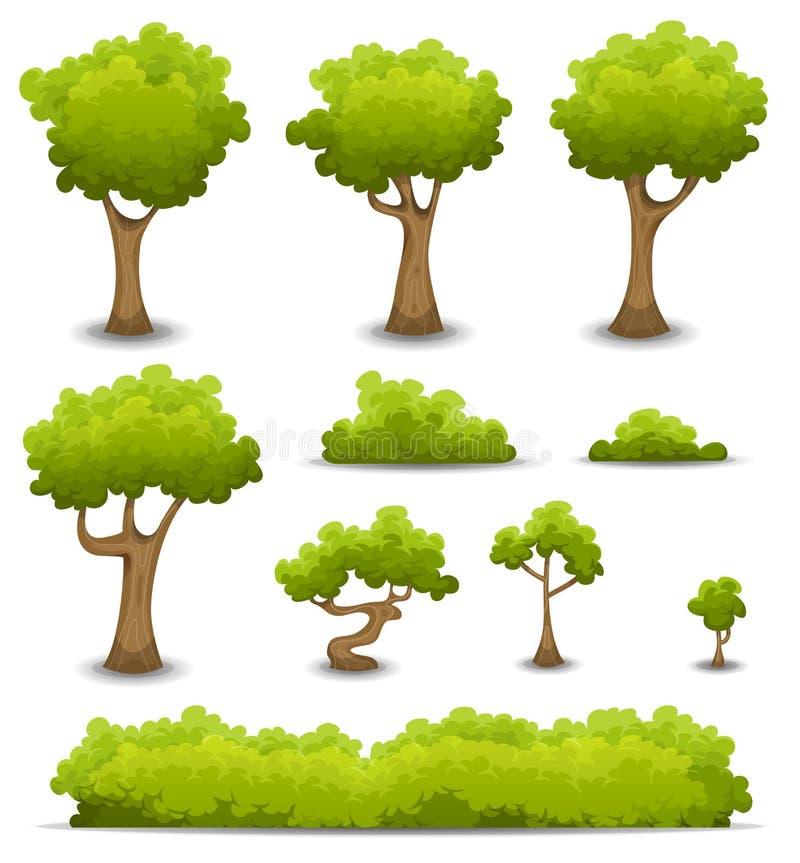 Forest Trees, setos y sistema de Bush stock de ilustración