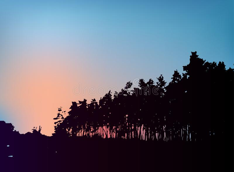 Forest trees silhouette on sunset vector template. stock photography