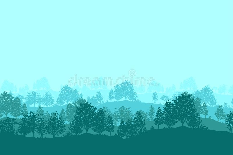 Forest trees silhouettes background stock illustration