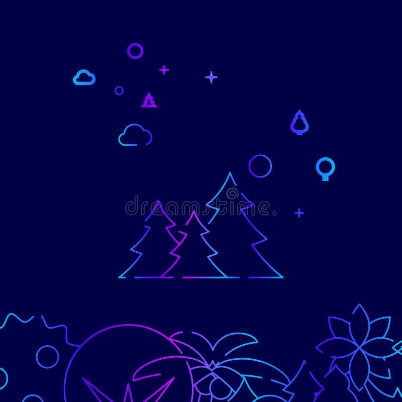 Forest Vector Line Icon conifero, illustrazione su un fondo blu scuro Confine inferiore relativo royalty illustrazione gratis
