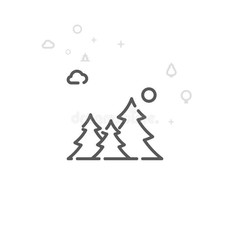 Forest Vector Line Icon conifero, simbolo, pittogramma, segno Fondo geometrico astratto leggero Colpo editabile royalty illustrazione gratis